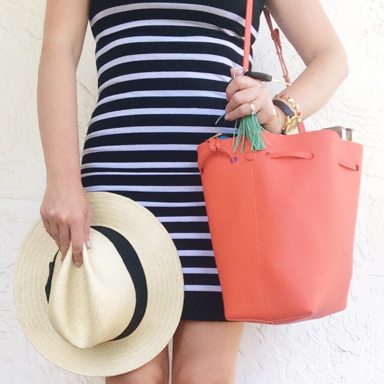 A Pretty Penny Summer Style Striped Dress Target Hat Hautelook Bag
