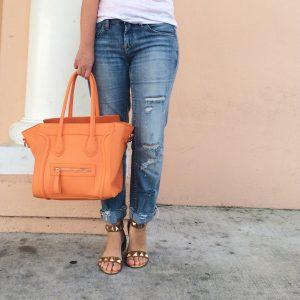 A Pretty Penny Blog Distressed Jeans Orange Handbag
