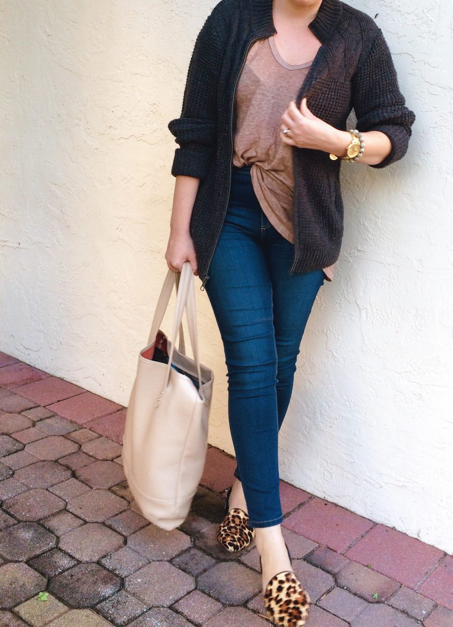 """Casual Style: Men's cardigan with Free People """"Free Fallin"""" Tee and High Roller skinnies and leopard d'orsay flats."""