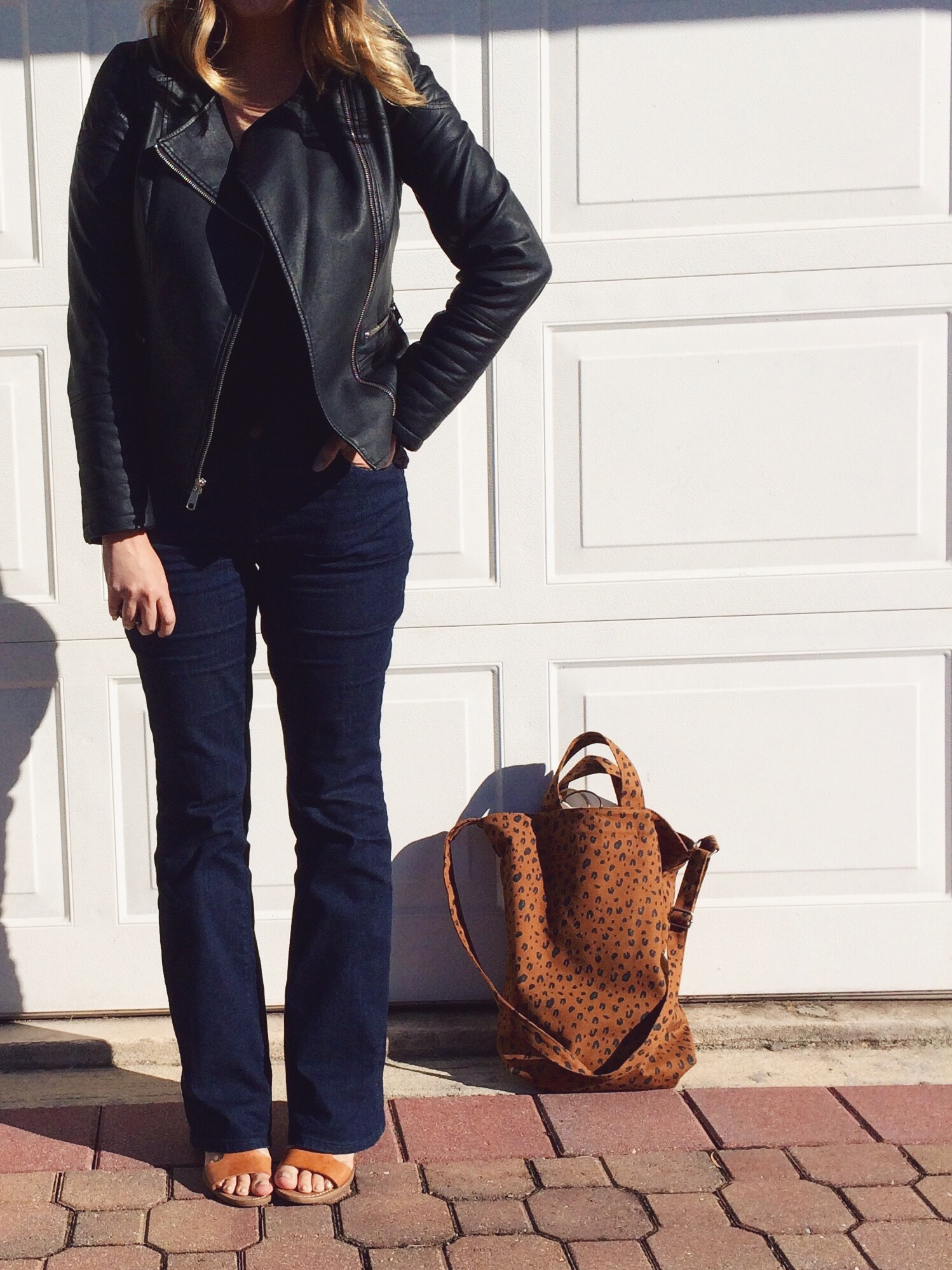 OOTD: Pleather jacket with LOFT flare jeans. keiralennox.com