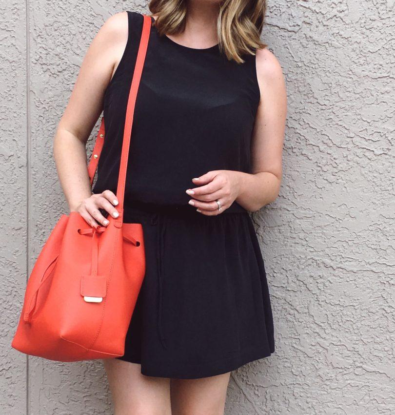 Summer OOTD: J.Crew Factory silk dress with bright leather bucket bag   keiralennox.com