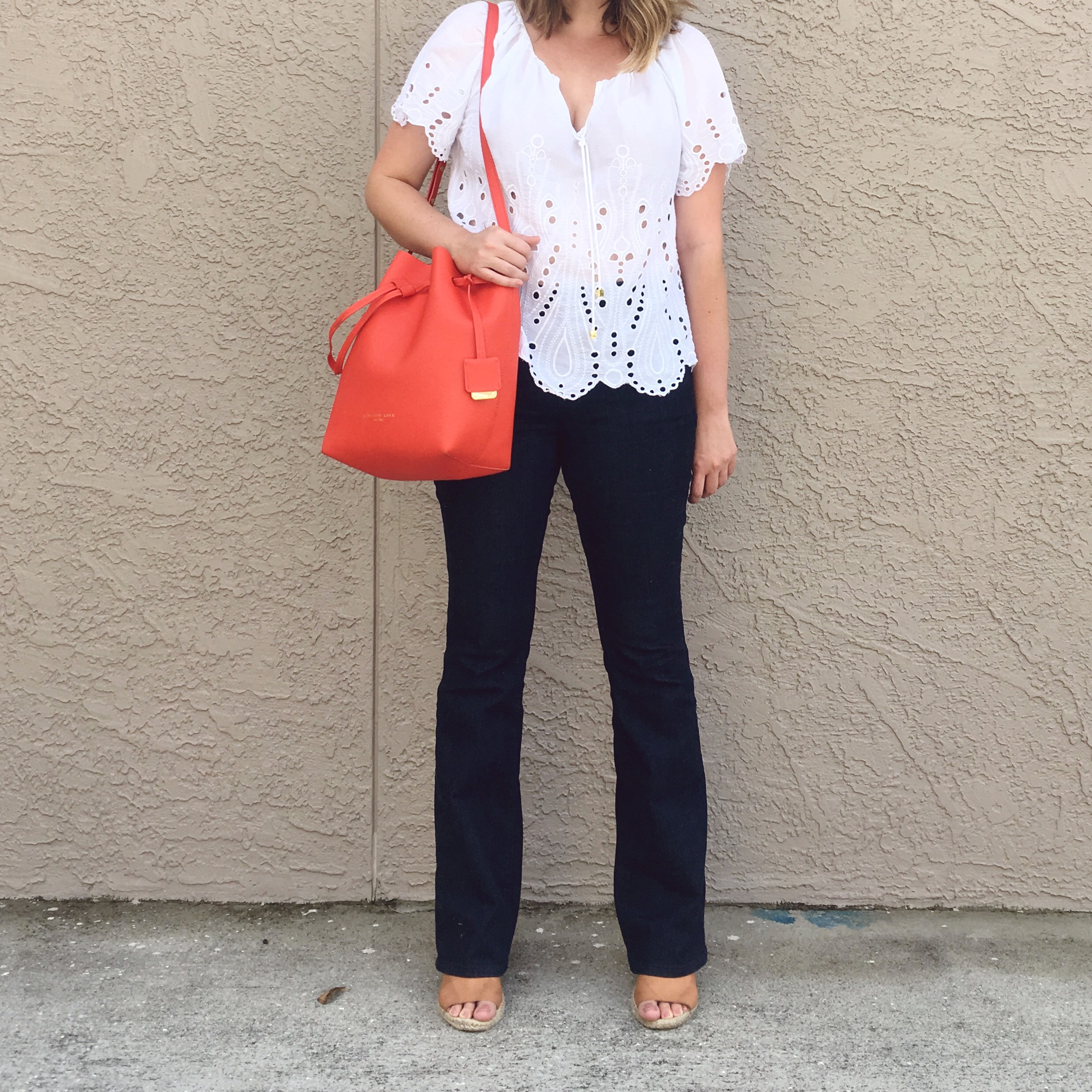 OOTD Loft dark flare jeans with Michael Kors eyelet top and Kenneth Cole leather bucket bag