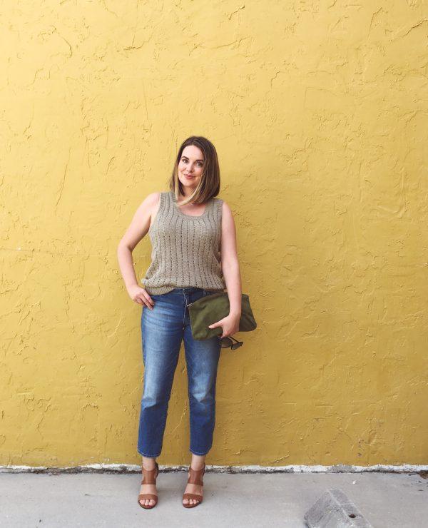 Summer Capsule Wardrobe 2016   LOFT Texture Knit Tank and Calvin Klein Straight Crop Boyfriend Jeans with Ralph Lauren stacked heel sandals   keiralennox.com