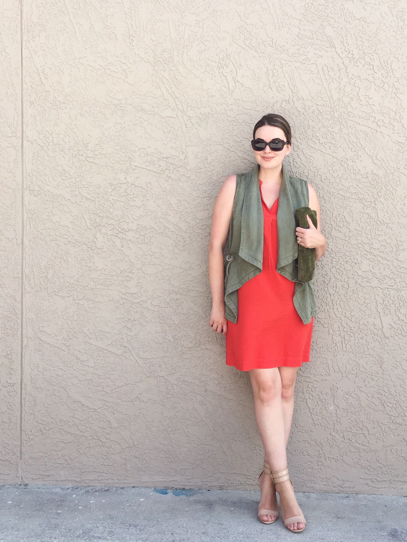 OOTD   LOFT tie-waist shirt dress with TJMaxx drape front vest and Nine West nude ankle wrap stiletto sandals   Summer Capsule Wardrobe 2016   keiralennox.com