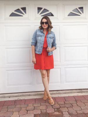 Summer 2016 Capsule Wardrobe, LOFT tie-waist shirt dress with Lucky Brand denim jacket and studded slide sandals   keiralennox.com