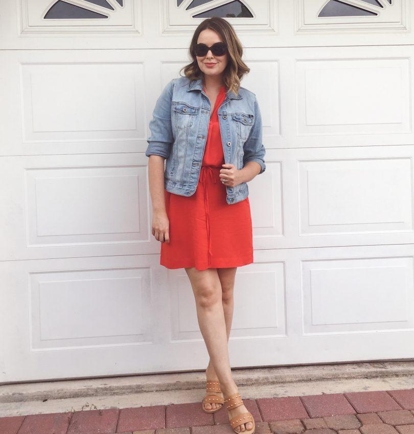 Summer 2016 Capsule Wardrobe, LOFT tie-waist shirt dress with Lucky Brand denim jacket and studded slide sandals | keiralennox.com