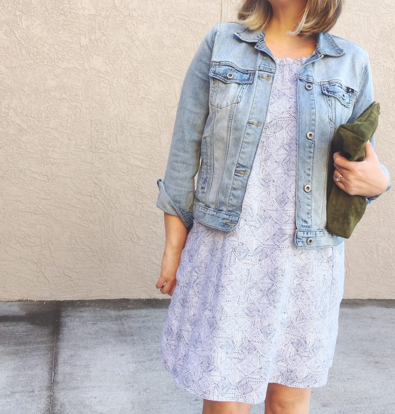 Old Navy dress with Lucky Brand denim jacket and BAGGU suede clutch, OOTD, style blog