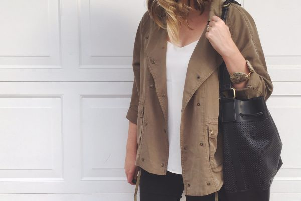 TJ Maxx Tencel Jacket + American Eagle Hi-Rise Skinnies + Vince Camuto Perforated Leather Bucket Bag | Budget Style | keiralennox.com