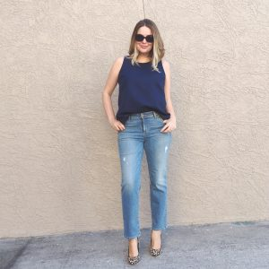 LOFT Distressed Straight Crop Jean