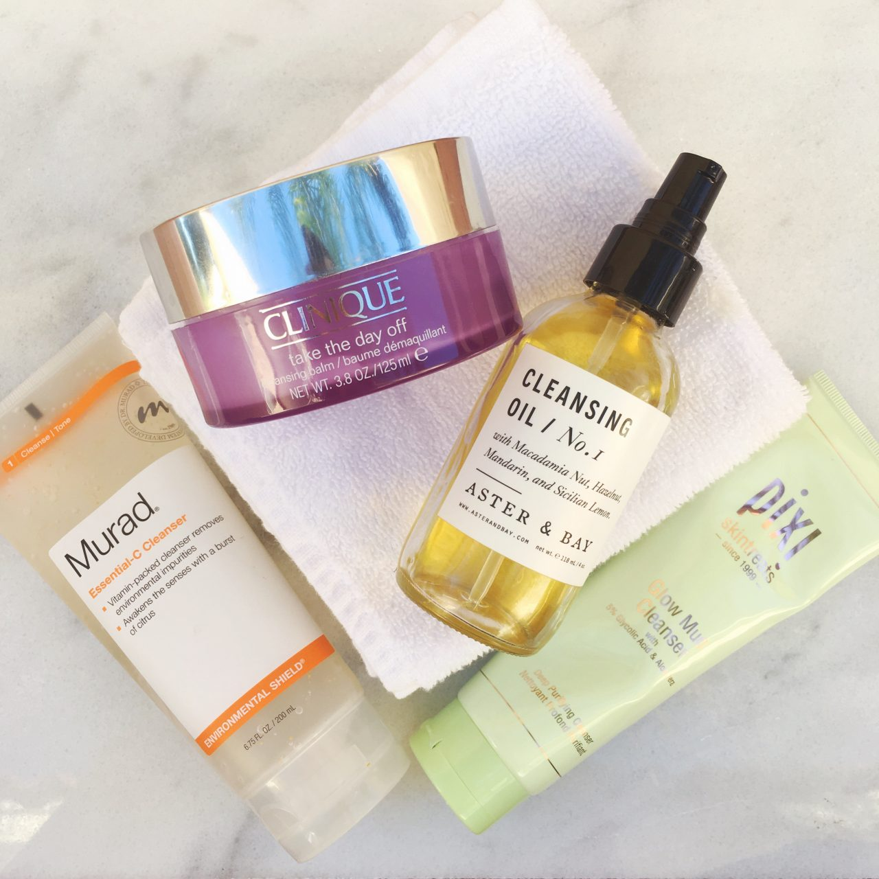 My Fave 5 Gentle But Effective Face Cleansers For Sensitive Skin Featuring Clinique Take The Day Off Balm, Aster and Bay Cleansing Oil, Pixi Glow Mud Cleanser, and Murad Essential C Cleanser | | Early 30s Skin Care | keiralennox.com