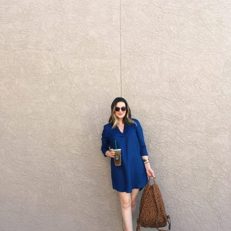 BB Dakota Shirt Dress with BAGGU canvas backpack OOTD | Real-life style blog