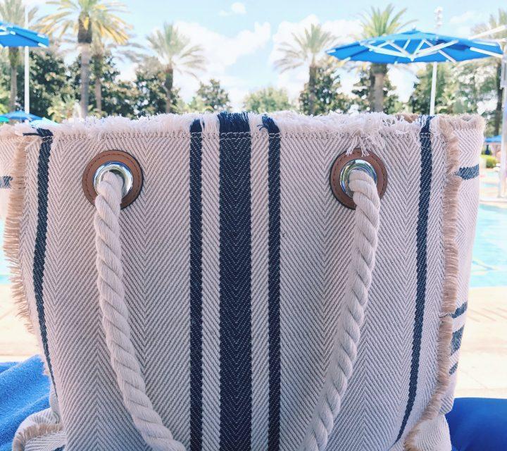 Vince Camuto Ulla Striped Tote Bag, Summer Accessories, Poolside, Ritz Carlton Grande Lakes