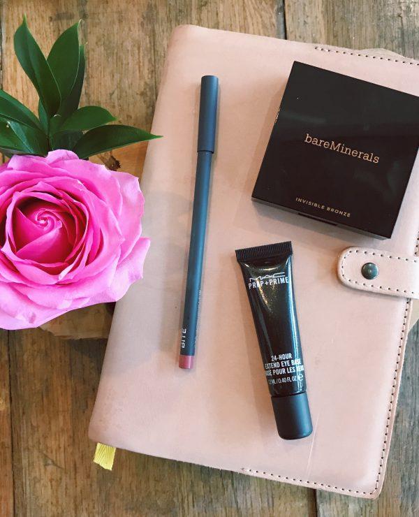 August Favorites: Best Self Success Journal, bareMinerals Invisible Bronze, Bite Beauty The Lip Pencil 022, MAC 24-hour Extend Eye Base, Beauty Blog