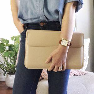 Nude faux leather laptop case, stylish laptop case