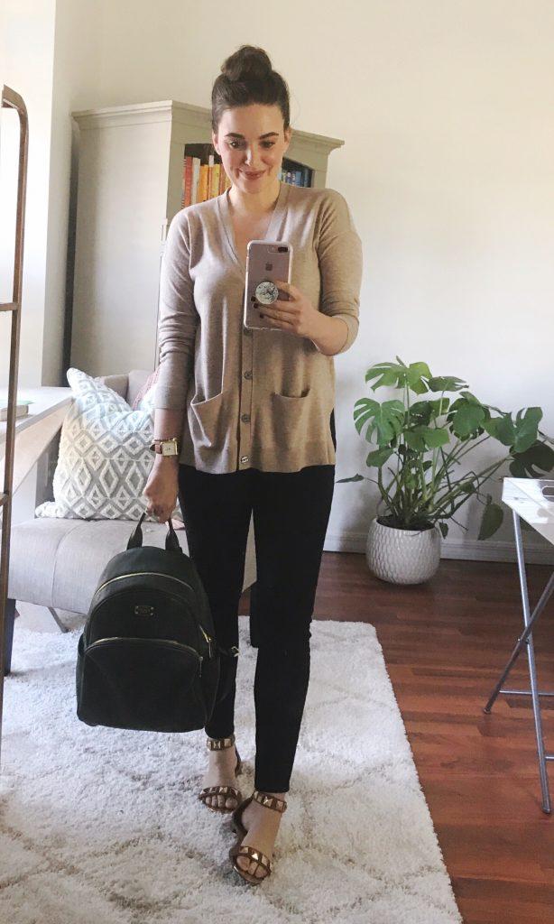 How to style a boyfriend cardigan with LOFT cardigan and performance denim leggings