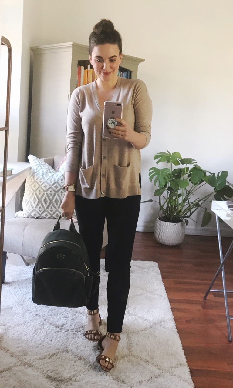 How to style a boyfriend cardigan with LOFT cardigan and performance denim leggings