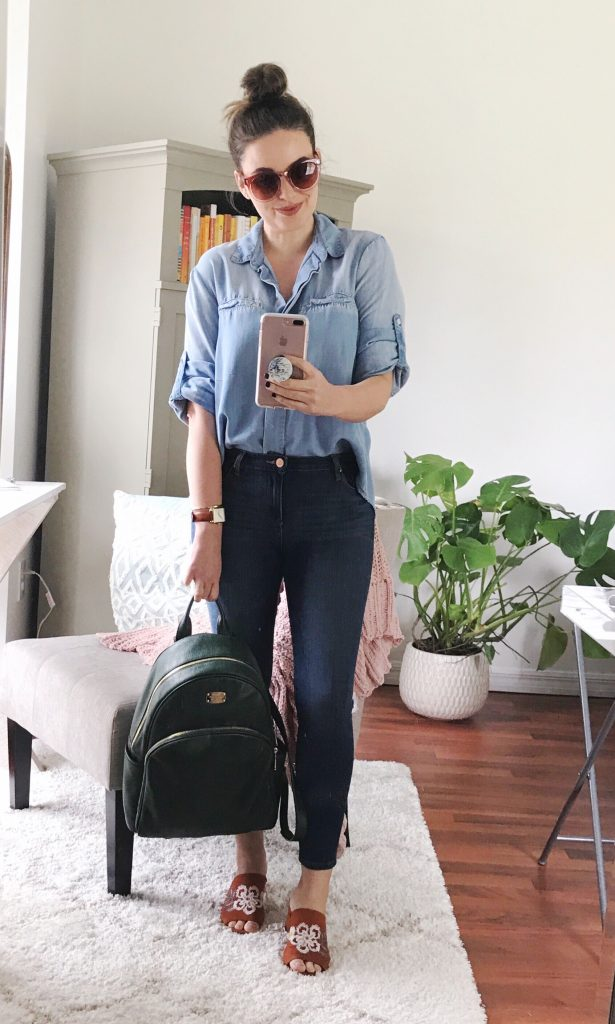 how to wear double denim, double denim outfit ideas, how to wear a denim shirt
