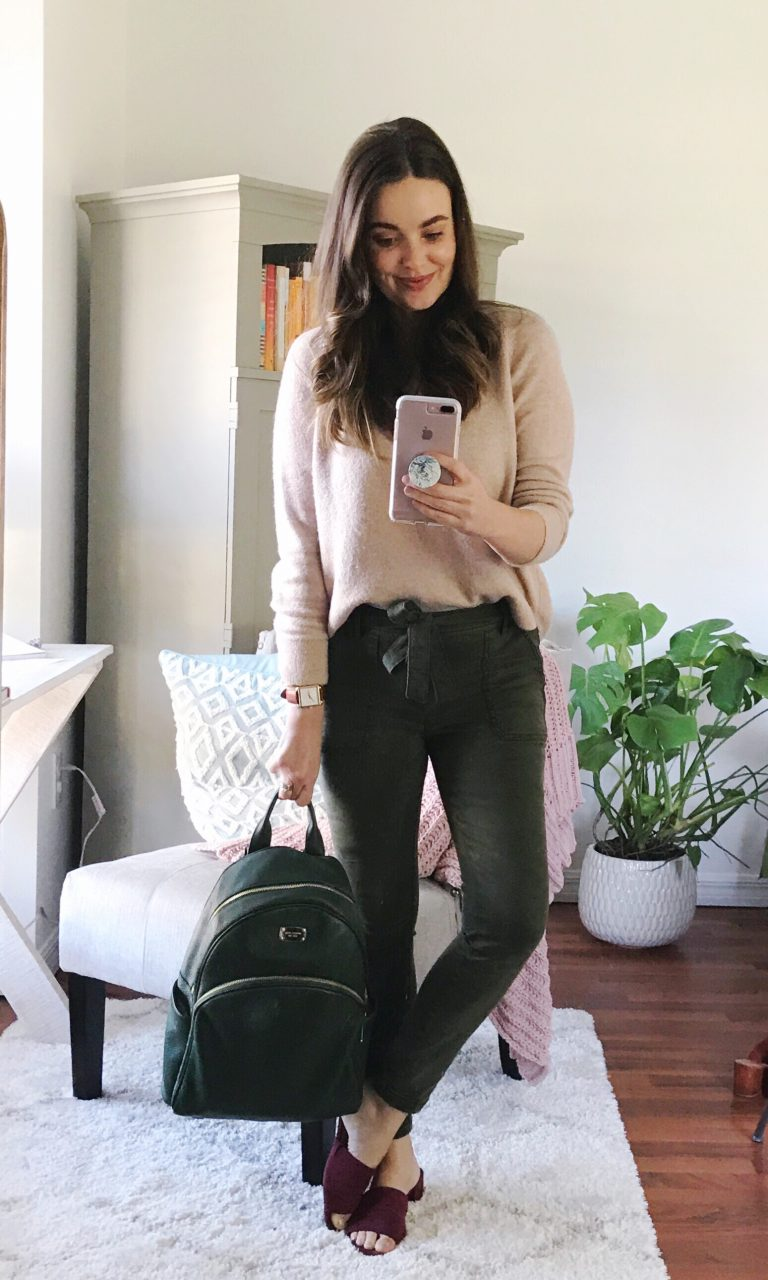 Easy casual outfit with LOFT sweater and skinny cargo pants with TJ Maxx mules.