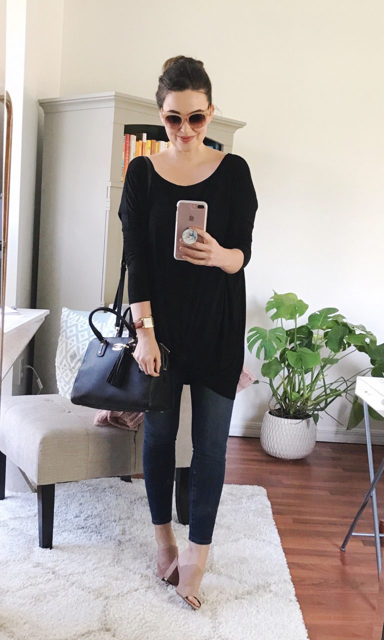 Easy outfit idea with black tunic tee and performance denim leggings with suede mules