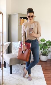 Casual weekend outfit ideas, LOFT sweater and performance denim leggings, errands outfit