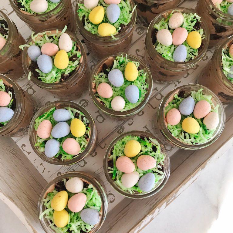 Easy Easter Dessert, Dirt Cake Pudding Mason Jars