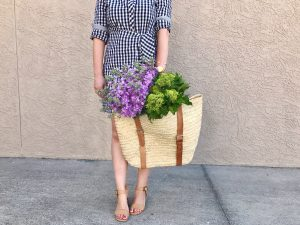 style blogger, shirt dress outfit, flowers in basket bag