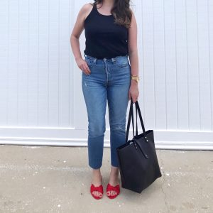 Casual outfit with black LOFT modern tank, Levi's 501 skinny jeans and red satin slide sandals.