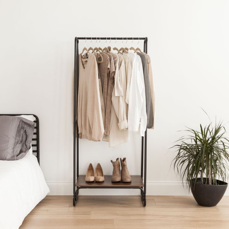 Capsule Wardrobe Planning, IRIS USA, Inc. IRIS Metal Garment Rack with Wood Shelf, Black and Dark Brown $39.99 at Walmart