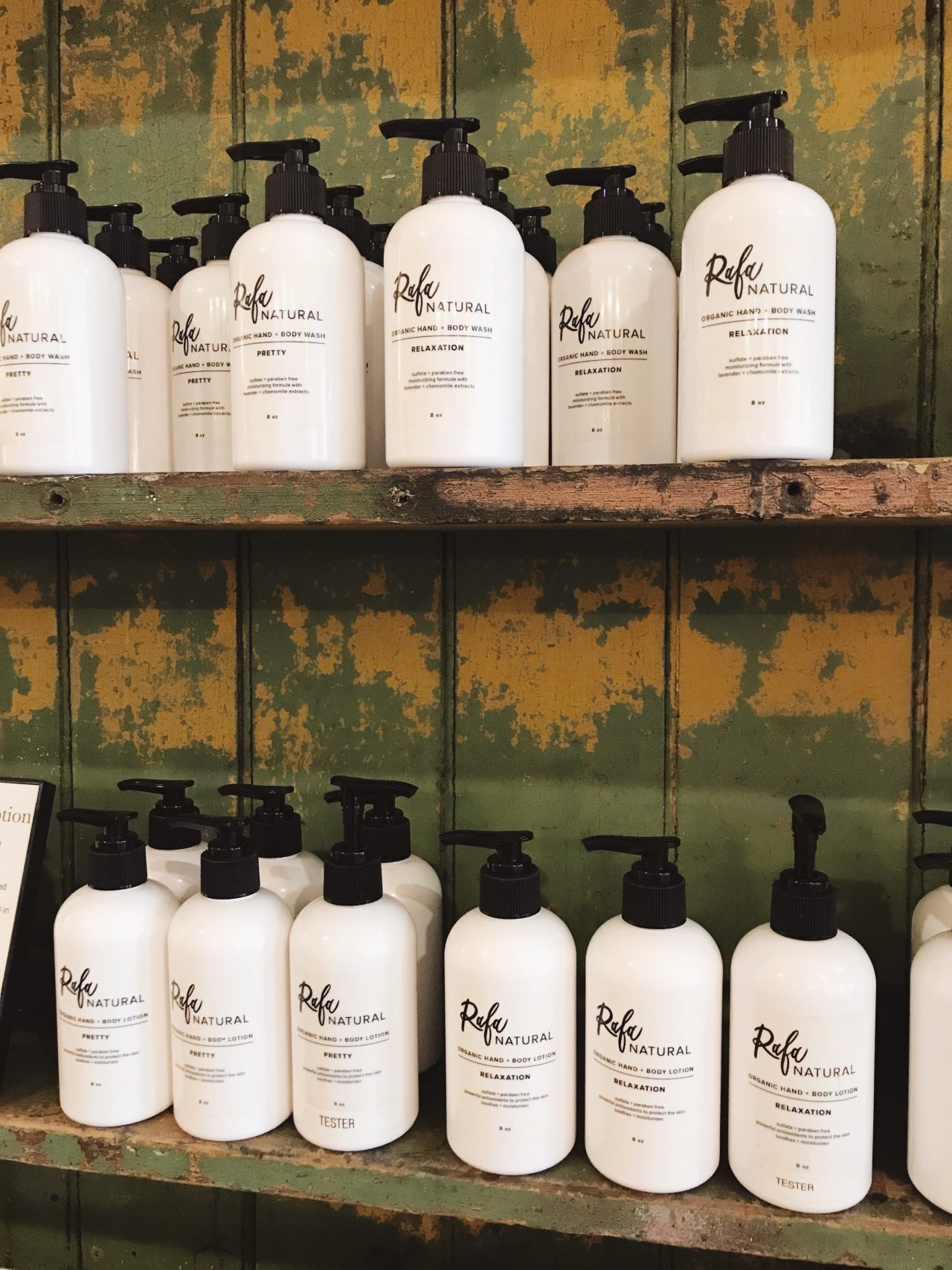 Rafa Natural Retail Display - Organic and Natural Hand + Body Wash and Hand + Body Lotion