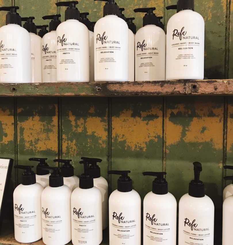 Rafa Natural Retail Display - Organic and Natural Hand + Body Wash and Hand + Body Lotion