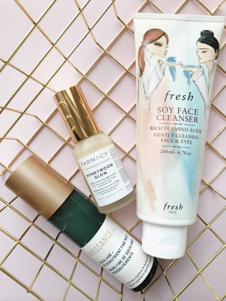 Beauty Blog Skin Care Review: Fresh Soy Face Cleanser, Farmacy Honeymoon Glow AHA Resurfacing Night Treatment, Biossance Squalane + Micronutrient Fine Mist