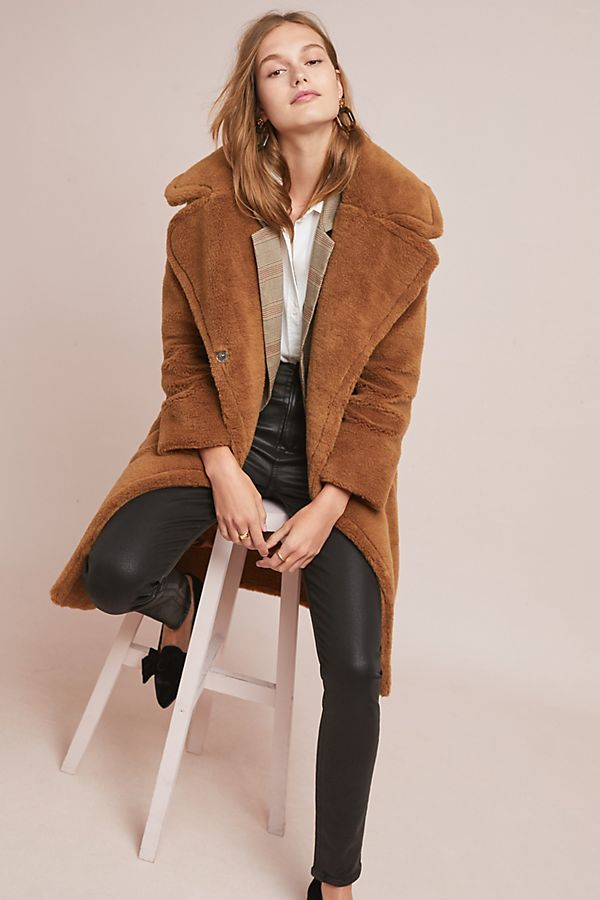 Teddy Coat Trend 2018 : Anthropologie See Worn Kept Faux Teddy Coat