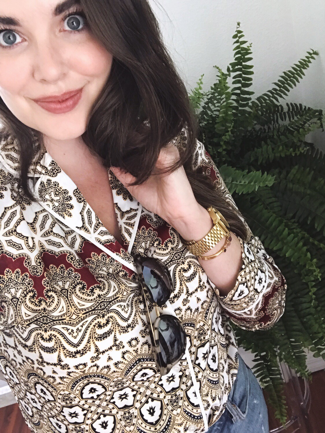 Style blogger wearing pajama style printed blouse by The Limited