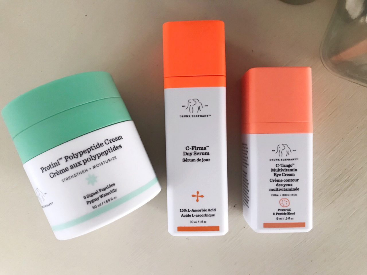 Drunk Elephant morning skin care routine - C-Firma Day Serum, C-Tango Multivitamin Eye Cream and Protini Polypeptide Cream