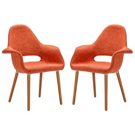 Set of two orange twill dining chairs with wood legs