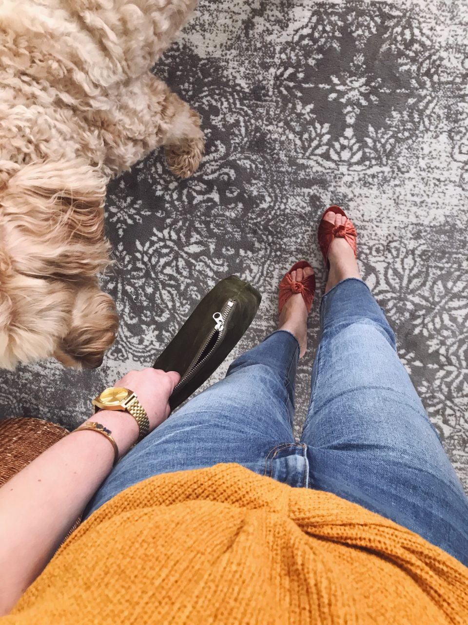Style blogger wearing mustard yellow sleeveless sweater with LOFT relaxed fit jeans and velvet Loeffler Randall 'Celeste' mules