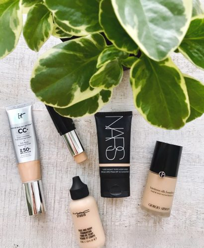 Flatlay of great foundations and tinted moisturizers for spring and summer.