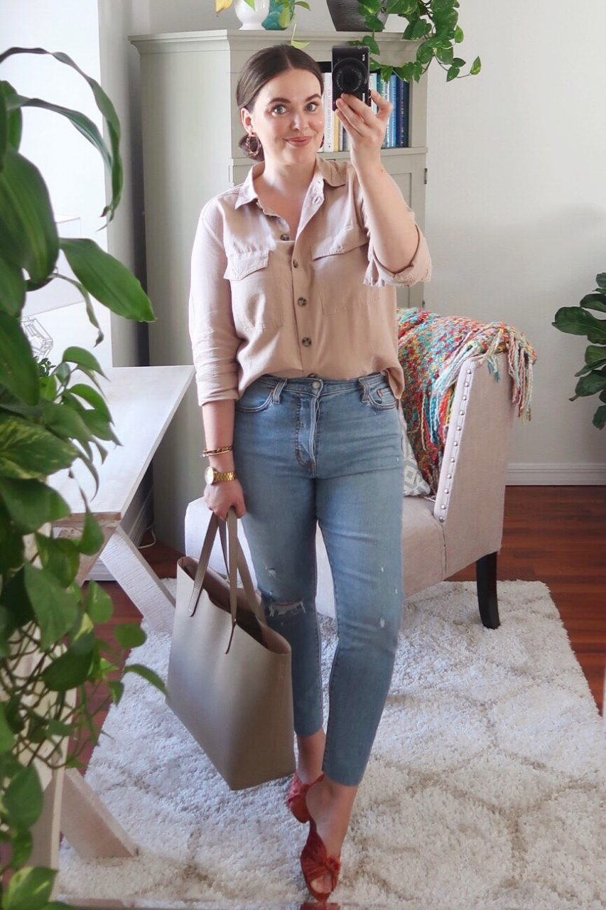 Style blogger wearing casual outfit f/ H&M cotton button-down shirt, Levi's wedgie skinny jeans, Loeffler Randall 'Celeste' velvet mules and Cuyana structured leather tote.