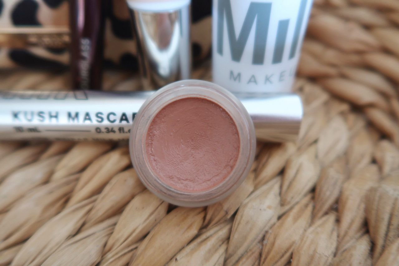5-product makeup routine featuring rms beauty lip2cheek cream color in the shade 'spell'