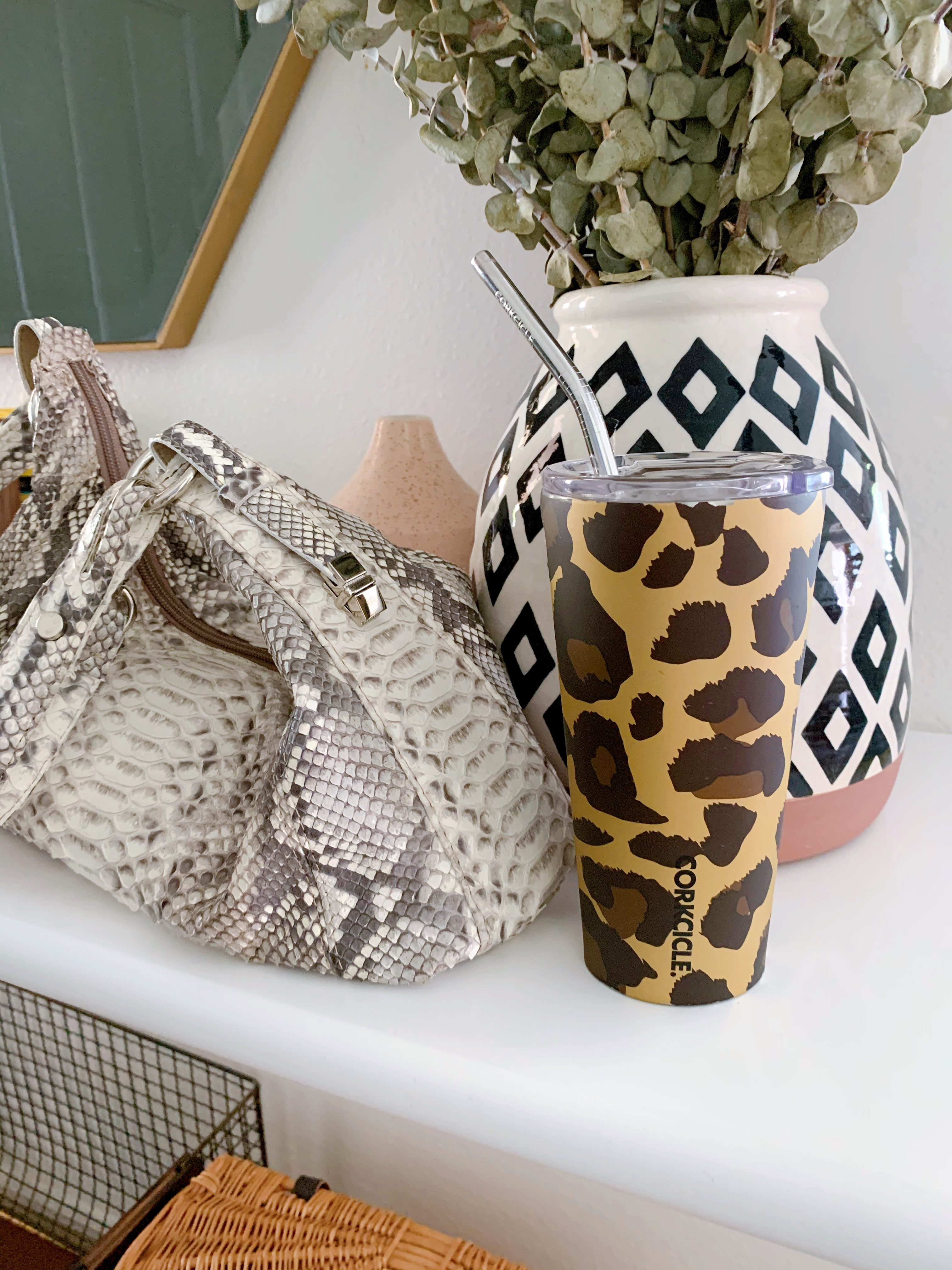 Easy iced coffee recipe in a leopard Corkcicle tumbler